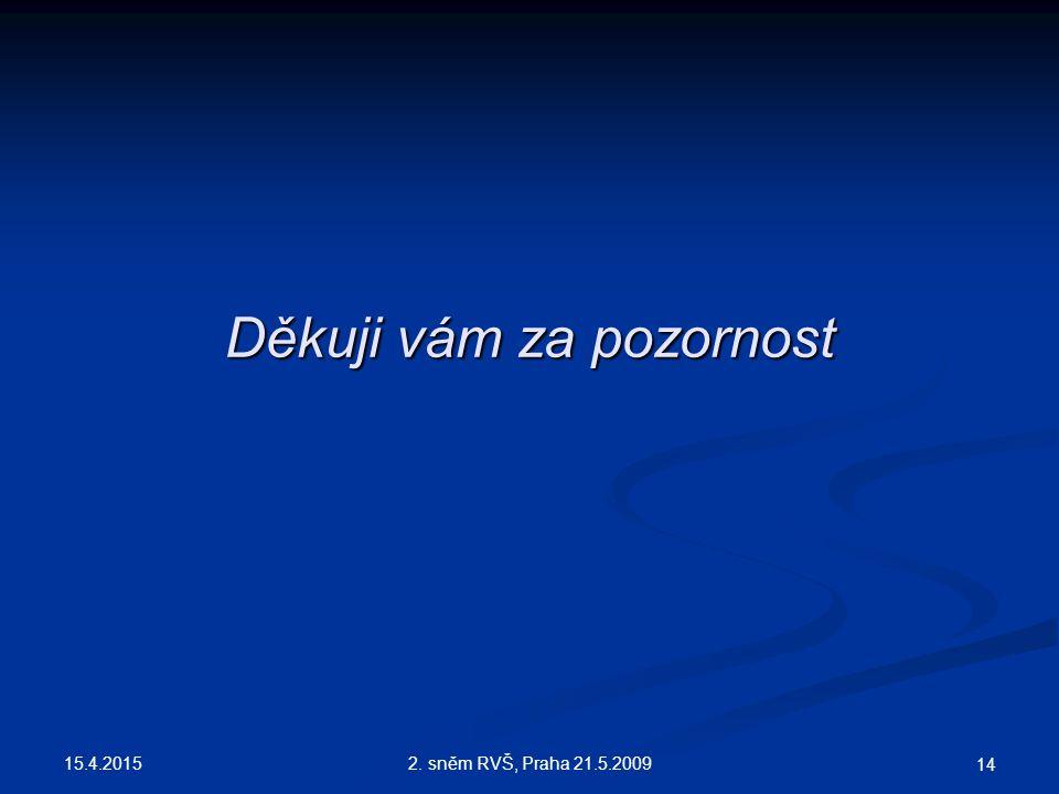 15.4.2015 2. sněm RVŠ, Praha 21.5.2009 14 Děkuji vám za pozornost