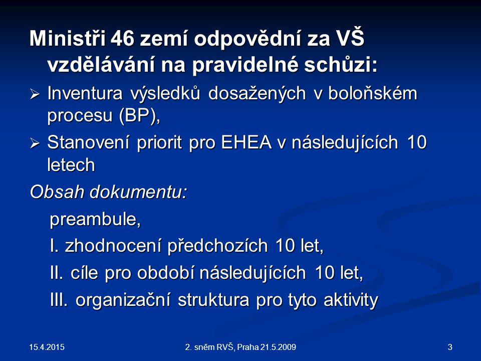 15.4.2015 32. sněm RVŠ, Praha 21.5.2009 Ministři 46 zemí odpovědní za VŠ vzdělávání na pravidelné schůzi:  Inventura výsledků dosažených v boloňském