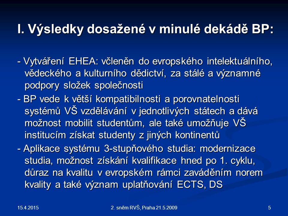 15.4.2015 52. sněm RVŠ, Praha 21.5.2009 I. Výsledky dosažené v minulé dekádě BP: - Vytváření EHEA: včleněn do evropského intelektuálního, vědeckého a