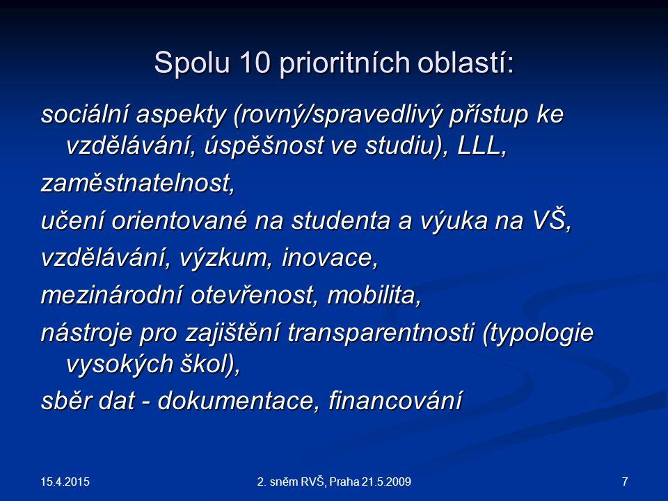 Spolu 10 prioritních oblastí: sociální aspekty (rovný/spravedlivý přístup ke vzdělávání, úspěšnost ve studiu), LLL, zaměstnatelnost, učení orientované