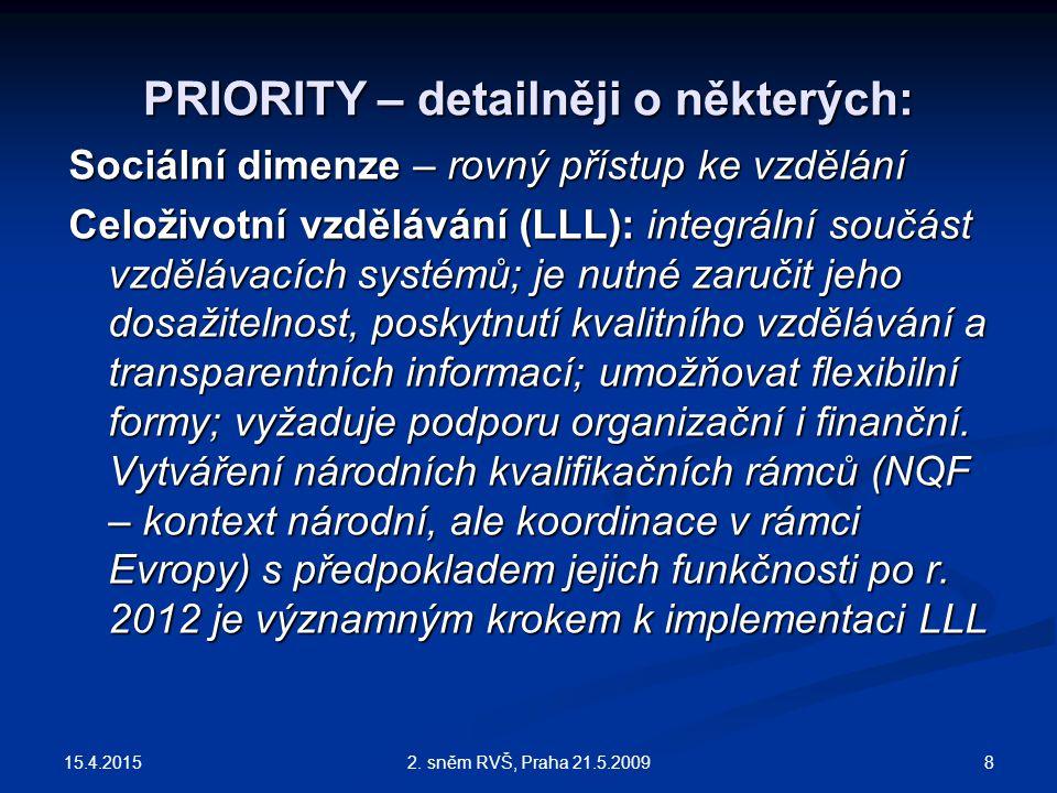 15.4.2015 82. sněm RVŠ, Praha 21.5.2009 PRIORITY – detailněji o některých: Sociální dimenze – rovný přístup ke vzdělání Celoživotní vzdělávání (LLL):