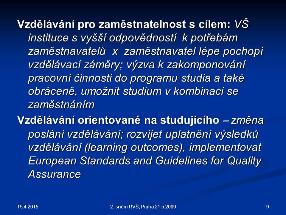 15.4.2015 92. sněm RVŠ, Praha 21.5.2009 Vzdělávání pro zaměstnatelnost s cílem: VŠ instituce s vyšší odpovědností k potřebám zaměstnavatelů x zaměstna