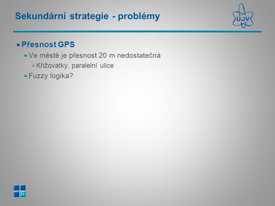 Sekundární strategie - problémy Přesnost GPS Ve městě je přesnost 20 m nedostatečná Křižovatky, paralelní ulice Fuzzy logika? 11