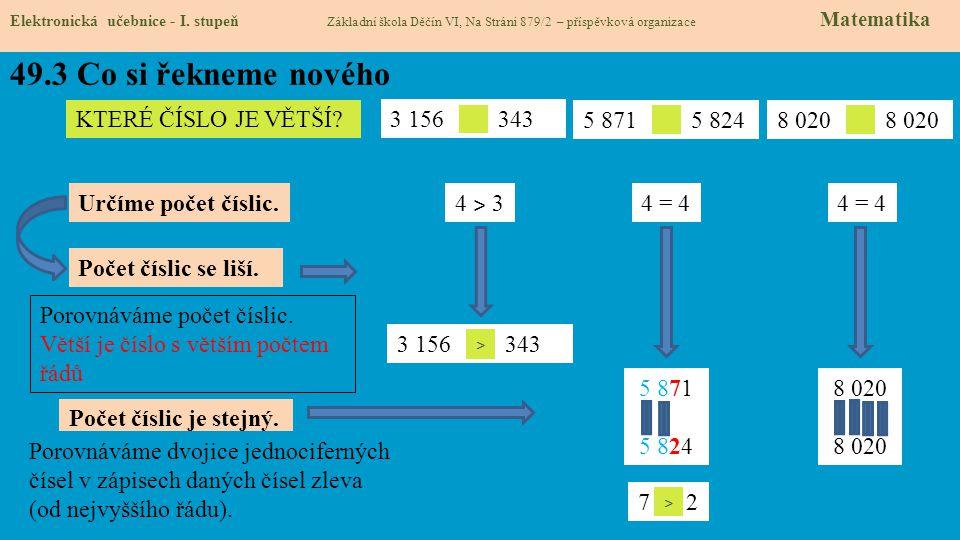 49.3 Co si řekneme nového Elektronická učebnice - I. stupeň Základní škola Děčín VI, Na Stráni 879/2 – příspěvková organizace Matematika 3 156 343 KTE