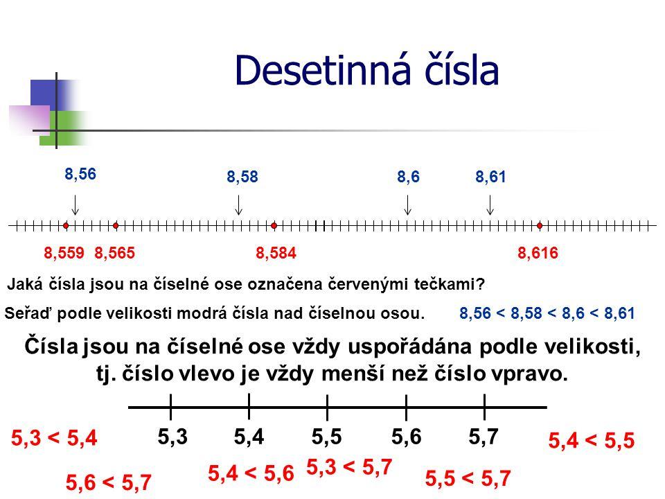 Porovnávání desetinných čísel Porovnej čísla: 52,682 7 a 52,683 1 Nejdříve porovnáme čísla před desetinnou čárkou 52 = 52 Při rovnosti postupně porovnáváme jednotlivé číslice za desetinnou čárkou Pokud narazíme na dvojici čísel, která se nerovnají, porovnáme je a nerovnost platí i pro zadaná čísla 6 = 6 52,682 7 8 = 8 2 < 3 52,683 1 <