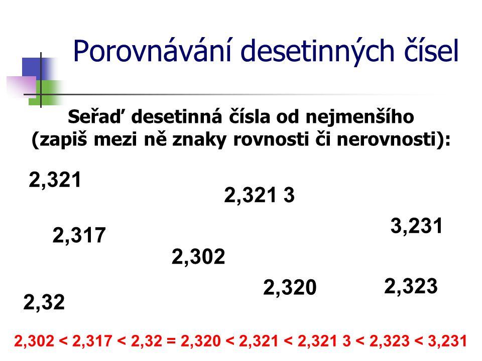 Porovnávání desetinných čísel Seřaď desetinná čísla od nejmenšího (zapiš mezi ně znaky rovnosti či nerovnosti): 2,321 2,321 3 3,231 2,323 2,317 2,32 2
