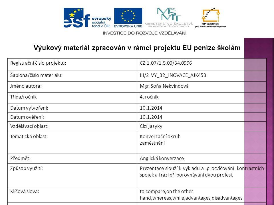 Registrační číslo projektu:CZ.1.07/1.5.00/34.0996 Šablona/číslo materiálu:III/2 VY_32_INOVACE_AJK453 Jméno autora:Mgr. Soňa Nekvindová Třída/ročník4.