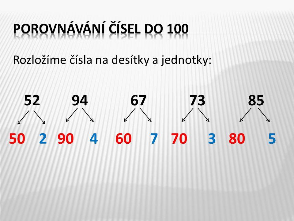 Porovnejte čísla: 87 ___ 9762 ___ 54 99 ___ 6971 ___ 47 63 ___ 6335 ___ 53 89 ___ 9826 ___ 56 52 ___ 5160 ___ 100 < > = < > > > < < <