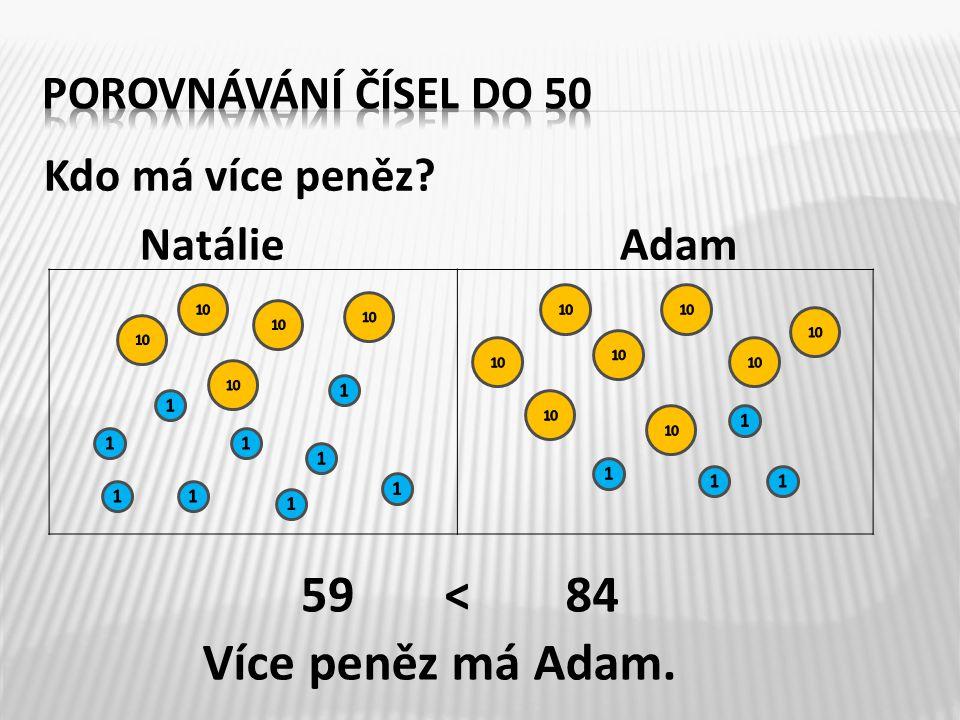 Kdo má více peněz? NatálieAdam 5984< Více peněz má Adam.