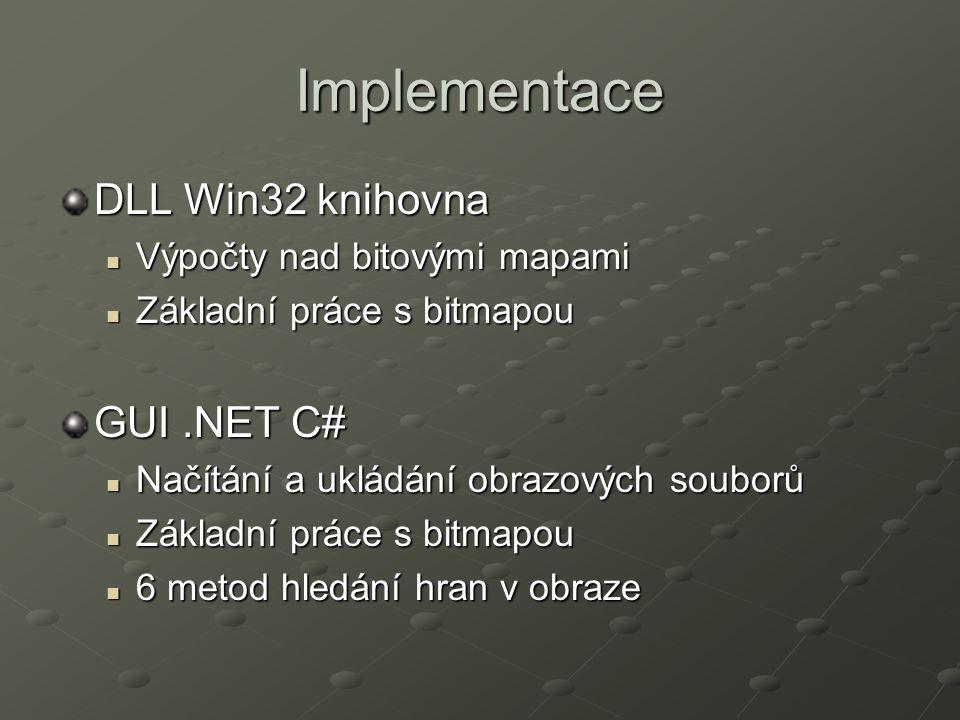 Implementace DLL Win32 knihovna Výpočty nad bitovými mapami Výpočty nad bitovými mapami Základní práce s bitmapou Základní práce s bitmapou GUI.NET C# Načítání a ukládání obrazových souborů Načítání a ukládání obrazových souborů Základní práce s bitmapou Základní práce s bitmapou 6 metod hledání hran v obraze 6 metod hledání hran v obraze