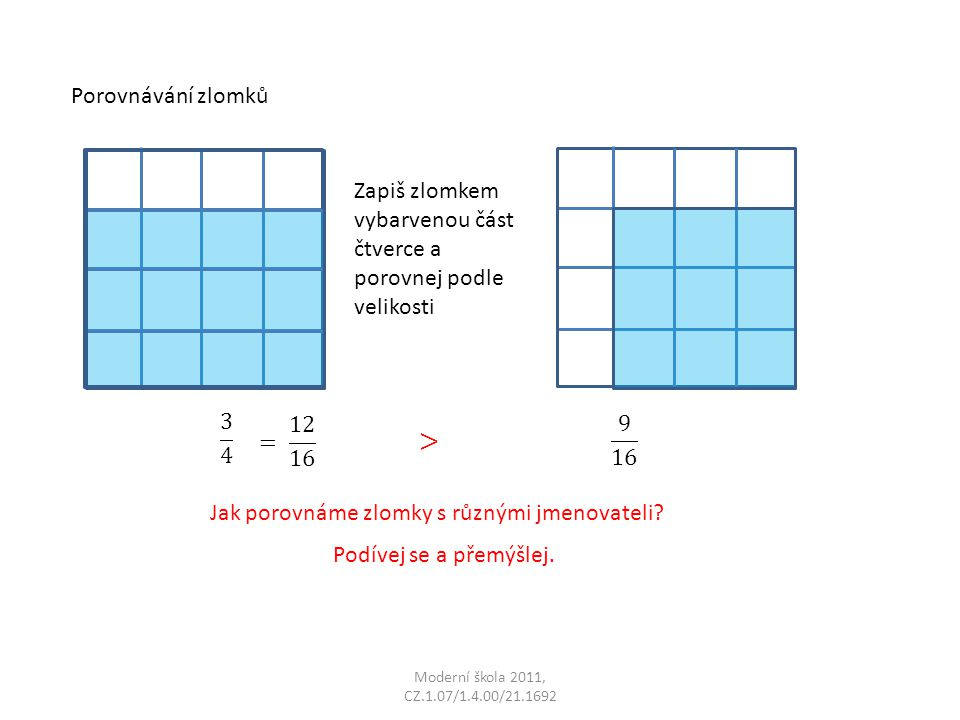 Moderní škola 2011, CZ.1.07/1.4.00/21.1692 Porovnávání zlomků Zapiš zlomkem vybarvenou část čtverce a porovnej podle velikosti Jak porovnáme zlomky s