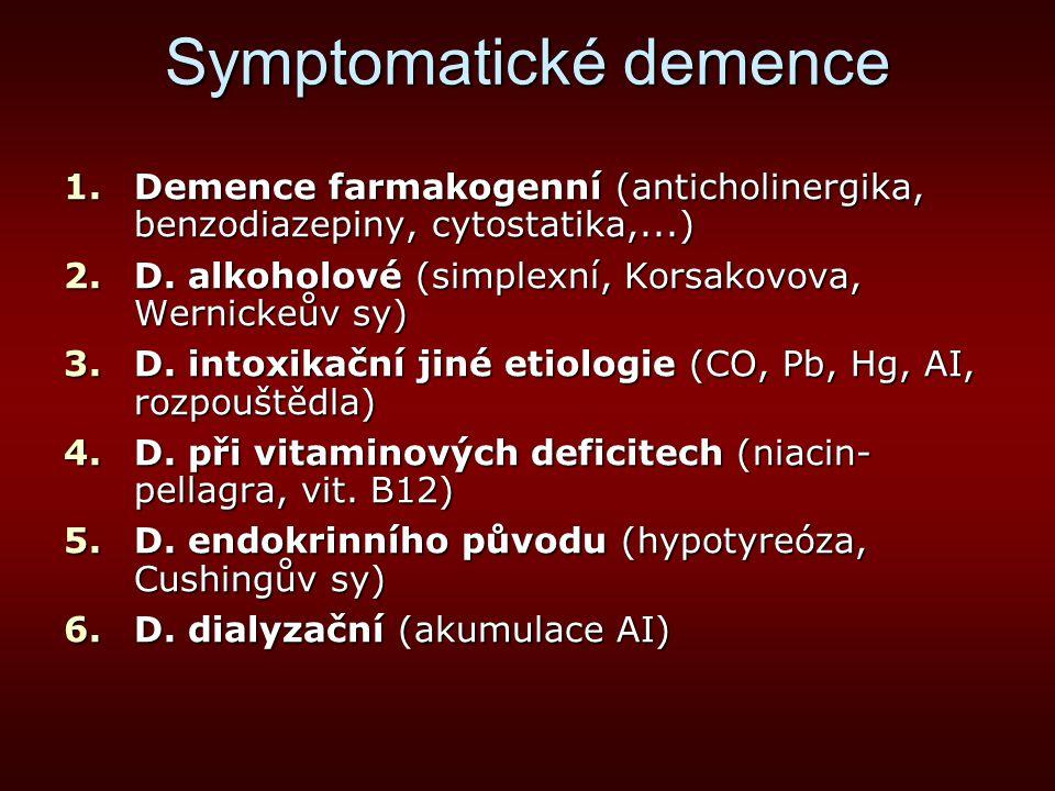 Symptomatické demence 1.Demence farmakogenní (anticholinergika, benzodiazepiny, cytostatika,...) 2.D. alkoholové (simplexní, Korsakovova, Wernickeův s