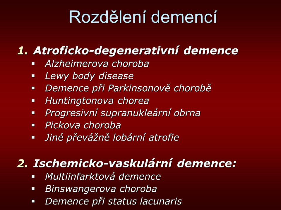 Rozdělení demencí 3.Symptomatické demence:  Demence infekční etiologie  Demence způsobené priony  Metabolické demence  Demence při endokrinopatiích  Demence intoxikační etiologie  Farmakogenní demence  Demence traumatického původu  Demence při kolagenózách  Demence při mozkových tumorech a paraneoplastické demence  Demence při epilepsii