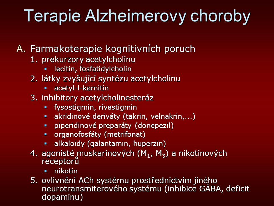 Terapie Alzheimerovy choroby A.Farmakoterapie kognitivních poruch 1.prekurzory acetylcholinu  lecitin, fosfatidylcholin 2.látky zvyšující syntézu ace