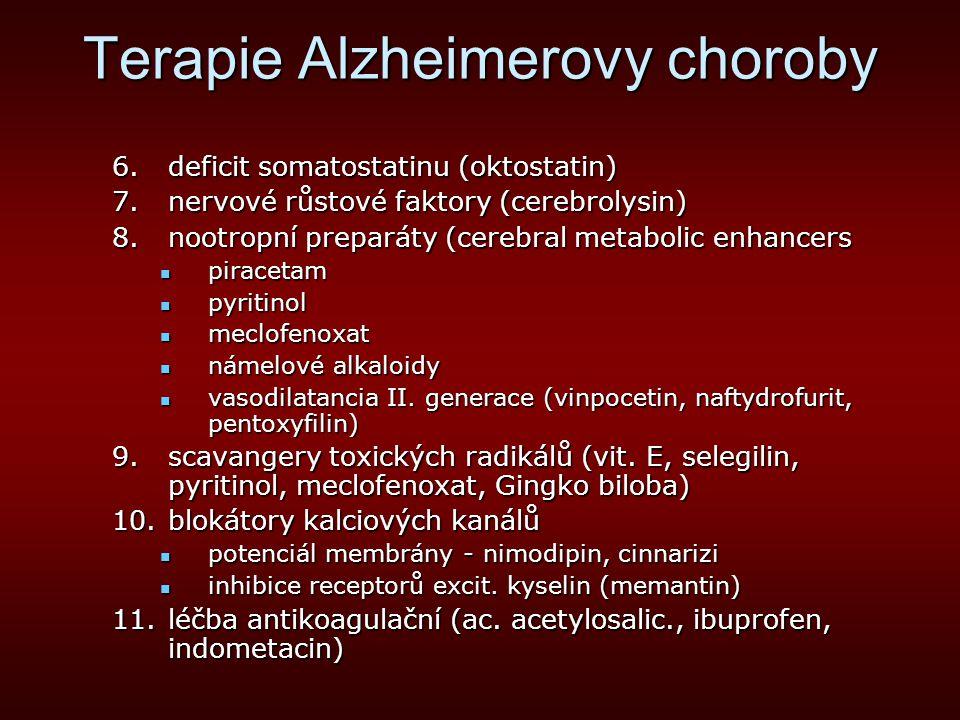 Terapie Alzheimerovy choroby B.Léčba nekognitivních poruch deprese, úzkostdeprese, úzkost psychotické stavy, stavy zmatenostipsychotické stavy, stavy zmatenosti insomnieinsomnie epileptiformní paroxysmyepileptiformní paroxysmy extrapyramidový syextrapyramidový sy C.Psychoterapie reedukace kognitivní, behaviorální, emočníreedukace kognitivní, behaviorální, emoční rodinná terapierodinná terapie Alzheimerovské společnostiAlzheimerovské společnosti