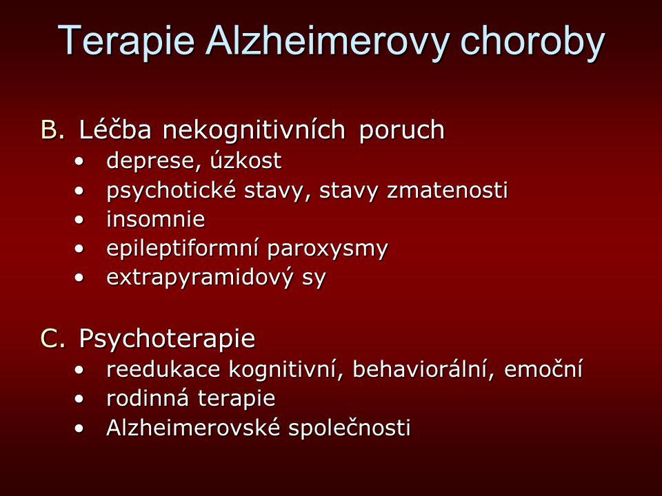 Terapie Alzheimerovy choroby B.Léčba nekognitivních poruch deprese, úzkostdeprese, úzkost psychotické stavy, stavy zmatenostipsychotické stavy, stavy