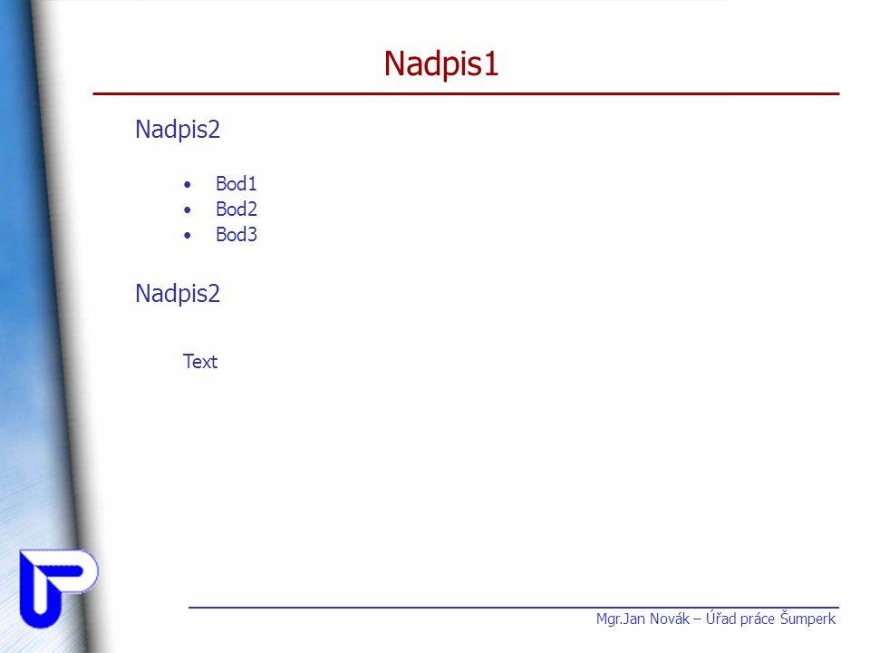 Nadpis1 Bod1 Bod2 Bod3 Mgr.Jan Novák – Úřad práce Šumperk Nadpis2 Text