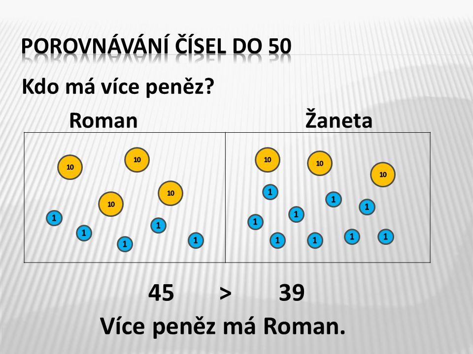 Kdo má více peněz RomanŽaneta 4539> Více peněz má Roman.