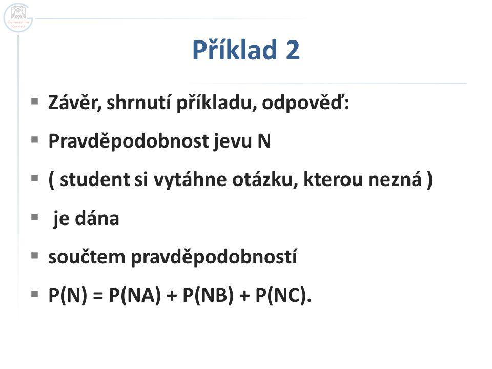  Závěr, shrnutí příkladu, odpověď:  Pravděpodobnost jevu N  ( student si vytáhne otázku, kterou nezná )  je dána  součtem pravděpodobností  P(N)