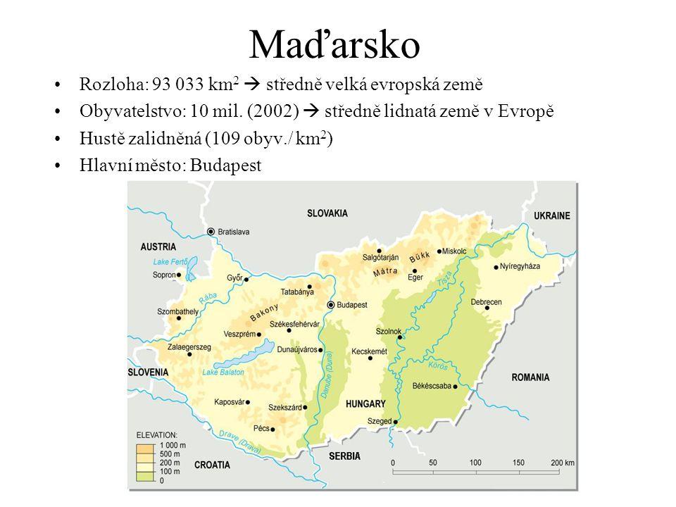 Maďarsko Rozloha: 93 033 km 2  středně velká evropská země Obyvatelstvo: 10 mil. (2002)  středně lidnatá země v Evropě Hustě zalidněná (109 obyv./ k