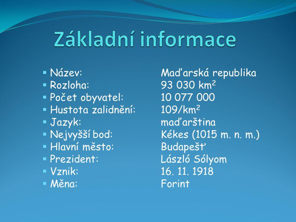  Název:Maďarská republika  Rozloha:93 030 km 2  Počet obyvatel:10 077 000  Hustota zalidnění:109/km 2  Jazyk:maďarština  Nejvyšší bod:Kékes (1015 m.