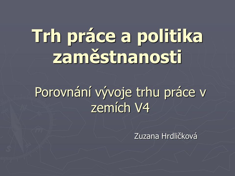 Trh práce a politika zaměstnanosti Zuzana Hrdličková Porovnání vývoje trhu práce v zemích V4