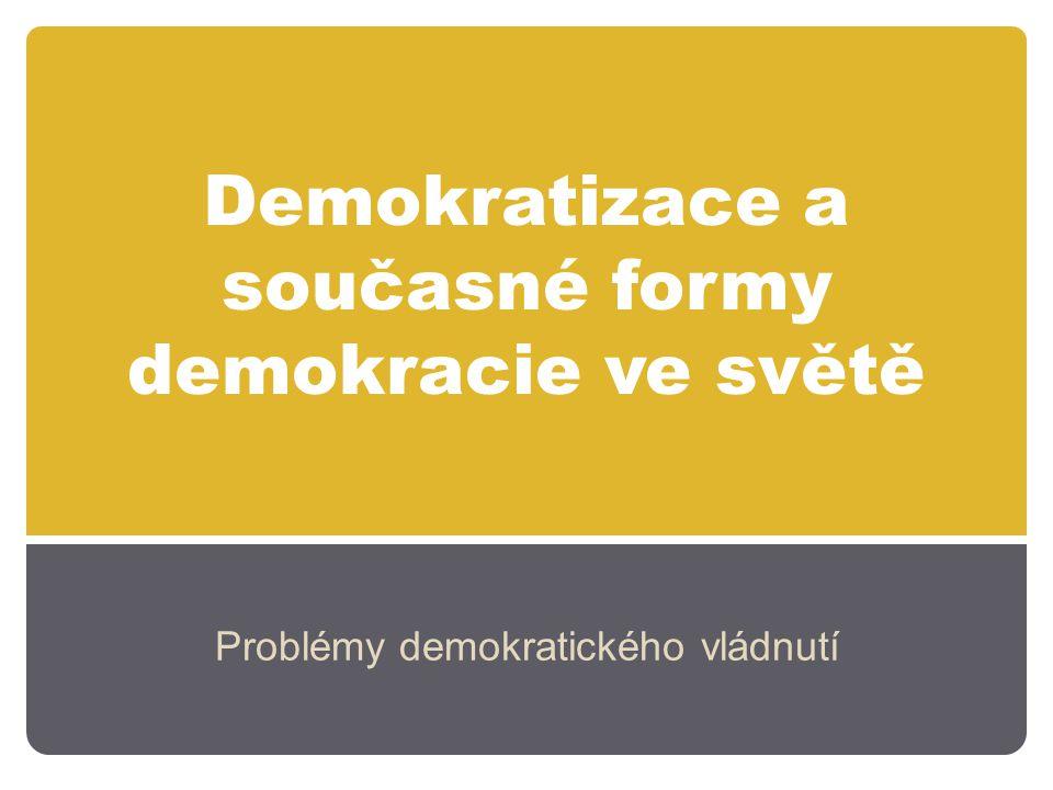 """Faktory demokratizace Udržení legitimity nedemokratických režimů: Závisí, na čem je legitimita režimu postavena (rozvoj, stabilita země, """"utopická společnost, tradice) Jakým způsobem je legitimita udržována: V nedemokraciích může být legitimita udržována prostřednictvím voleb (typické pro režimy s jednou stranou) – stabilita režimu Pokud se volby nekonají (vojenské režimy, sultánské režimy) je eroze legitimity jednodušší."""