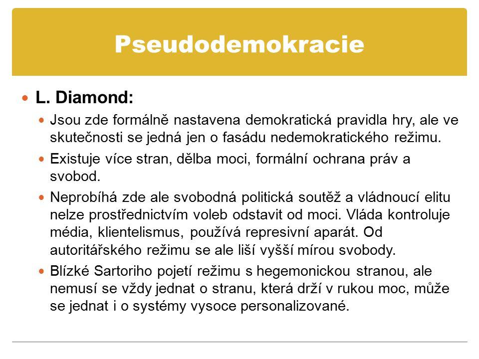 Pseudodemokracie L. Diamond: Jsou zde formálně nastavena demokratická pravidla hry, ale ve skutečnosti se jedná jen o fasádu nedemokratického režimu.