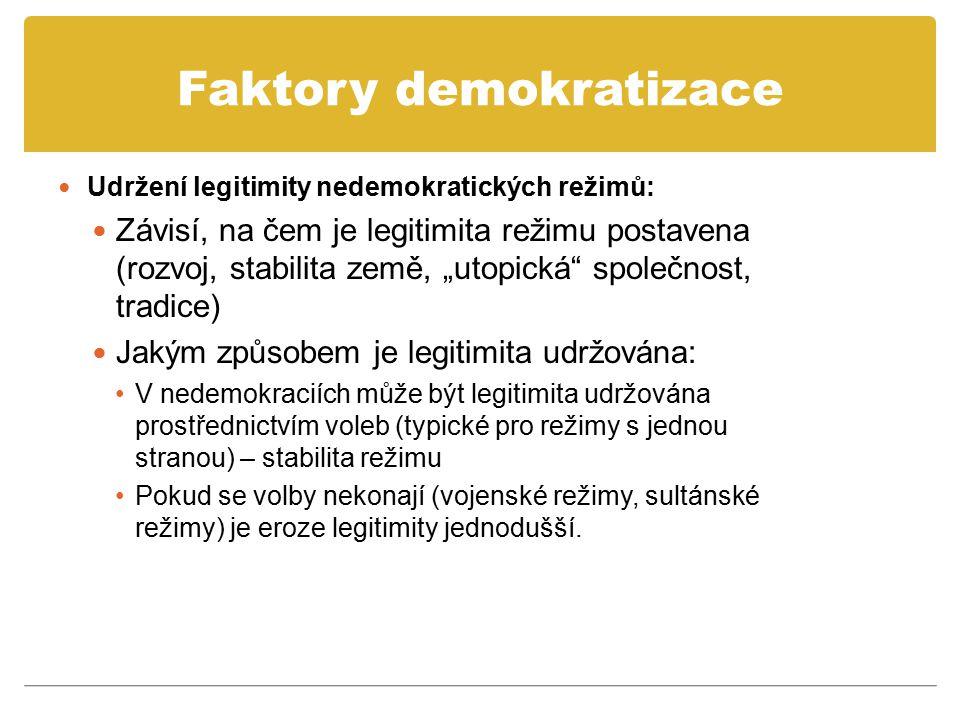 "Faktory demokratizace Udržení legitimity nedemokratických režimů: Závisí, na čem je legitimita režimu postavena (rozvoj, stabilita země, ""utopická"" sp"