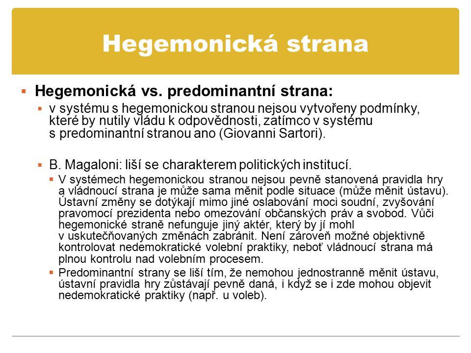 Hegemonická strana  Hegemonická vs. predominantní strana:  v systému s hegemonickou stranou nejsou vytvořeny podmínky, které by nutily vládu k odpov