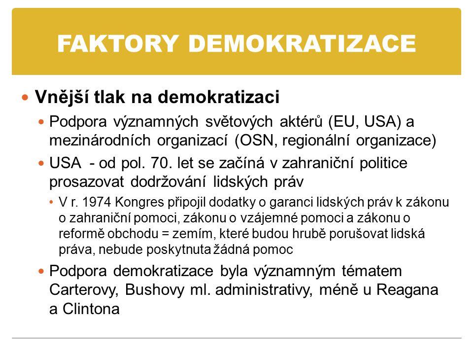 FAKTORY DEMOKRATIZACE ES/EU Působení na demokratizaci prostřednictvím příkladu – země ES/EU mají lepší životní standard, garance občanských práv a svobod, právní stát Vliv prostřednictvím přijímání nových členů Členem se mohla stát pouze demokratická země, země s nedemokratickou formou vlády byly odmítány = tzv.