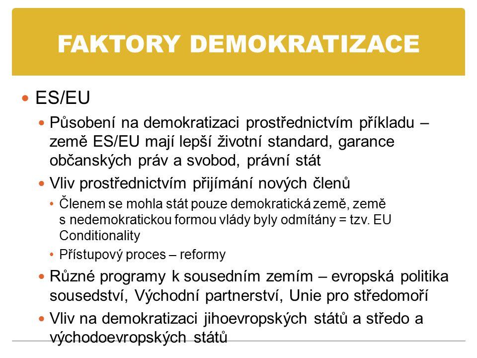 FAKTORY DEMOKRATIZACE ES/EU Působení na demokratizaci prostřednictvím příkladu – země ES/EU mají lepší životní standard, garance občanských práv a svo
