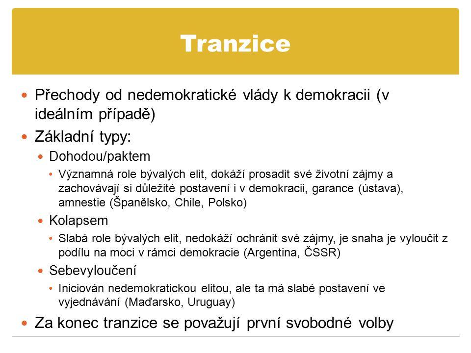 Tranzice Přechody od nedemokratické vlády k demokracii (v ideálním případě) Základní typy: Dohodou/paktem Významná role bývalých elit, dokáží prosadit
