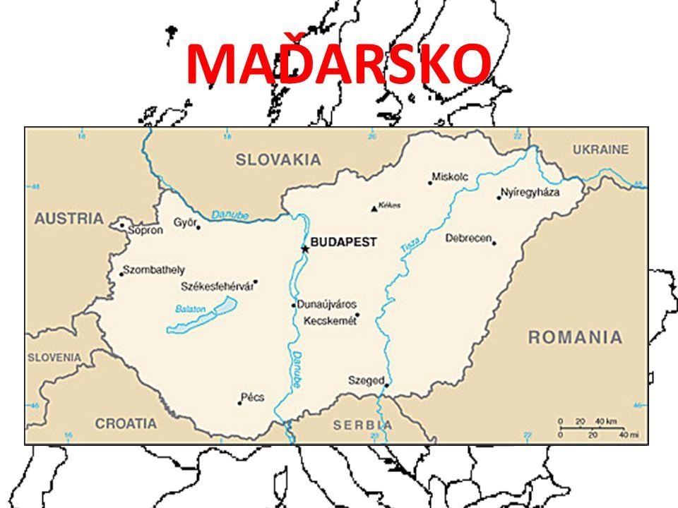 Maďarsko (Hungary, Magyarország) MPZ – H ROZLOHA: 93 030 km 2 Počet obyvatel: 10,1 mil Měna: Forint (100 fillérů) 100 Forintů/8,6 Kč Organizace: NATO, OSN, EU, OECD, WTO..