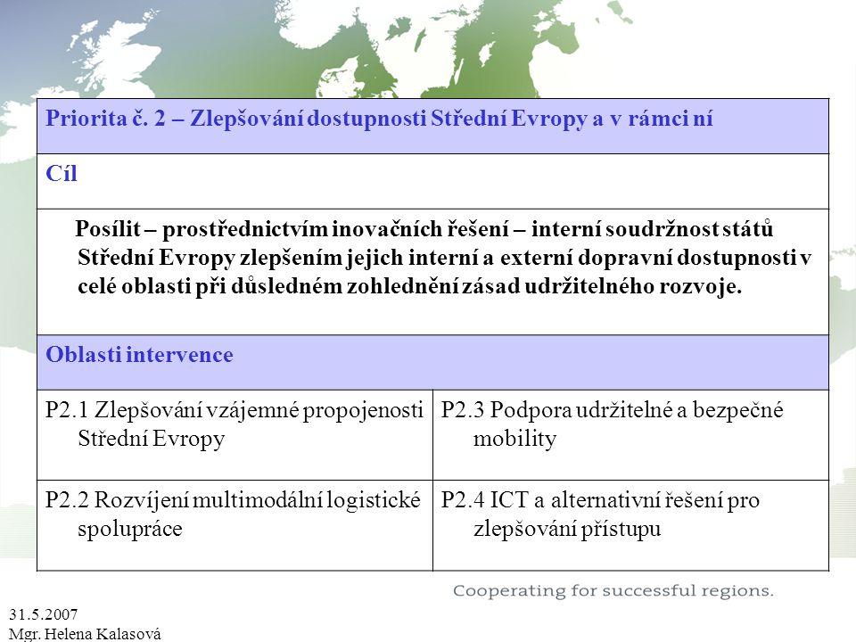 31.5.2007 Mgr. Helena Kalasová Priorita č. 2 – Zlepšování dostupnosti Střední Evropy a v rámci ní Cíl Posílit – prostřednictvím inovačních řešení – in