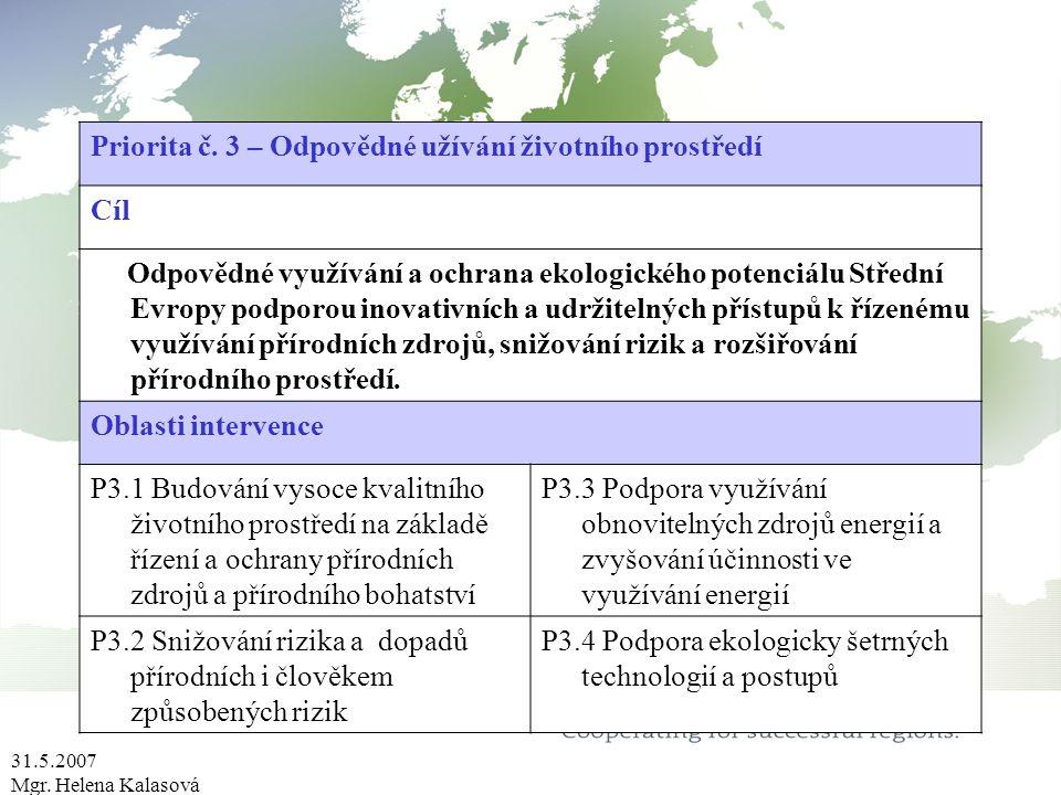 31.5.2007 Mgr. Helena Kalasová Priorita č. 3 – Odpovědné užívání životního prostředí Cíl Odpovědné využívání a ochrana ekologického potenciálu Střední