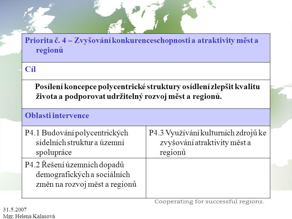 31.5.2007 Mgr. Helena Kalasová Priorita č. 4 – Zvyšování konkurenceschopnosti a atraktivity měst a regionů Cíl Posílení koncepce polycentrické struktu