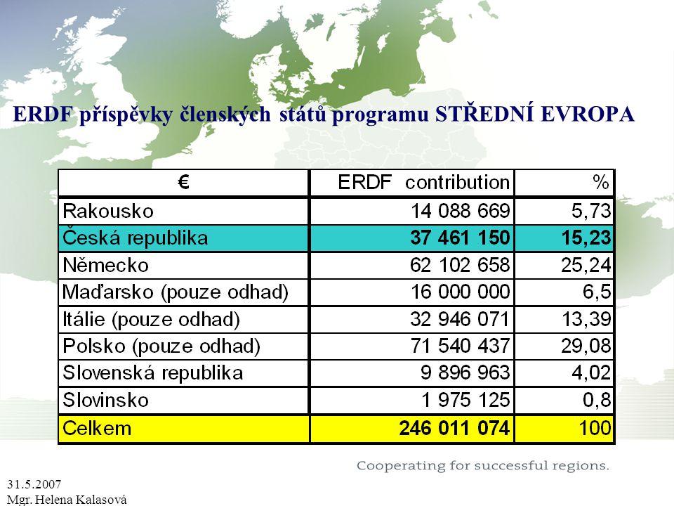 31.5.2007 Mgr. Helena Kalasová ERDF příspěvky členských států programu STŘEDNÍ EVROPA