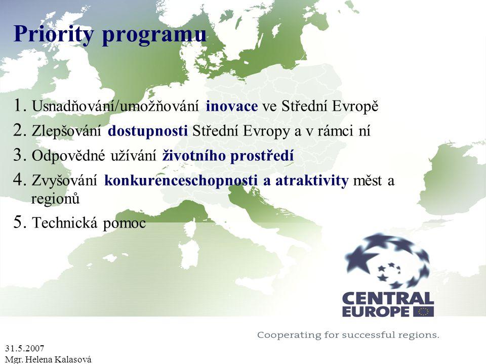 31.5.2007 Mgr. Helena Kalasová Priority programu 1. Usnadňování/umožňování inovace ve Střední Evropě 2. Zlepšování dostupnosti Střední Evropy a v rámc