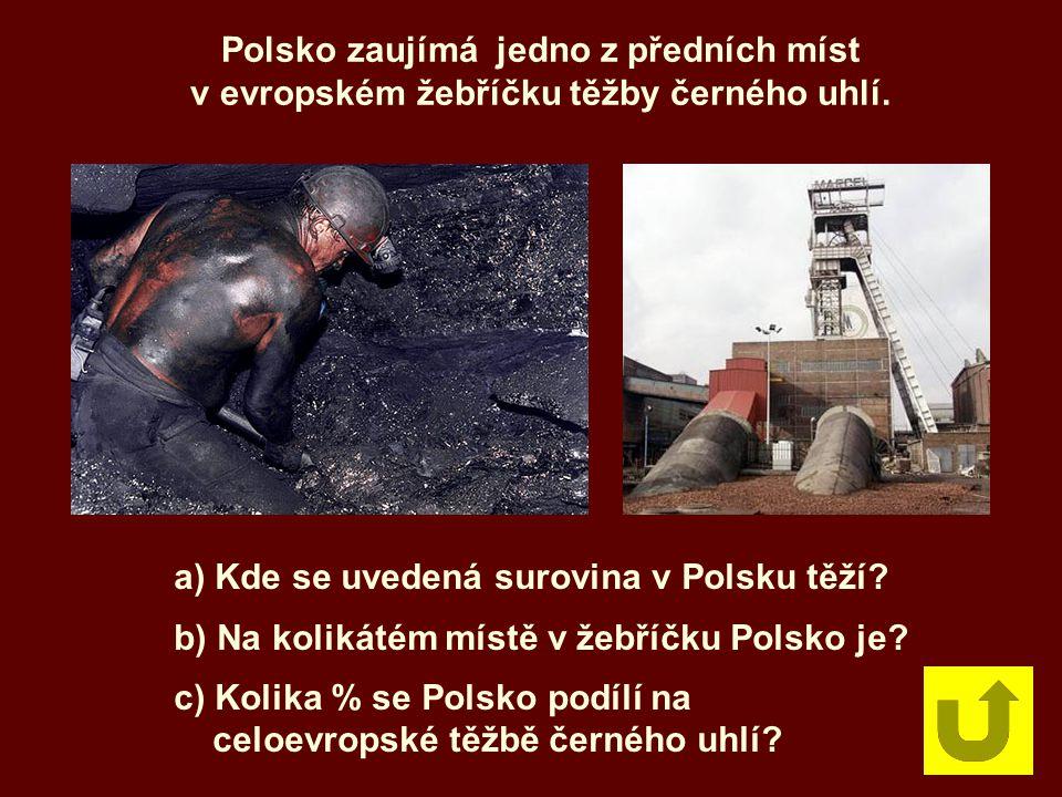 Polsko zaujímá jedno z předních míst v evropském žebříčku těžby černého uhlí. a) Kde se uvedená surovina v Polsku těží? b) Na kolikátém místě v žebříč