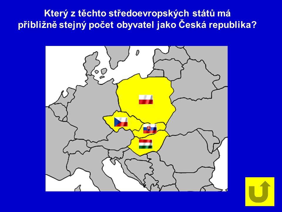 Který z těchto středoevropských států má přibližně stejný počet obyvatel jako Česká republika?