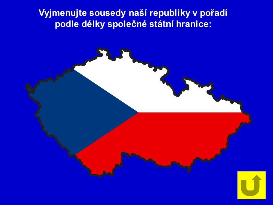 Vyjmenujte sousedy naší republiky v pořadí podle délky společné státní hranice: