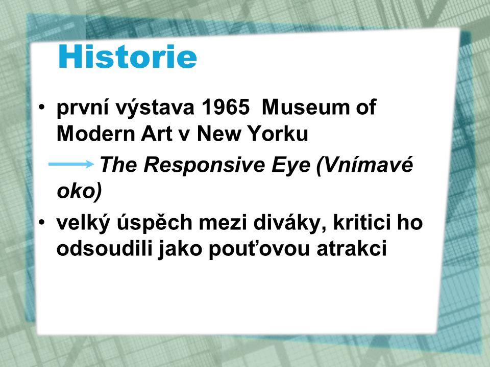 Historie první výstava 1965 Museum of Modern Art v New Yorku The Responsive Eye (Vnímavé oko) velký úspěch mezi diváky, kritici ho odsoudili jako pouť