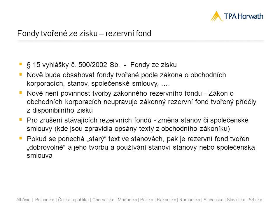 Albánie | Bulharsko | Česká republika | Chorvatsko | Maďarsko | Polsko | Rakousko | Rumunsko | Slovensko | Slovinsko | Srbsko Fondy tvořené ze zisku –
