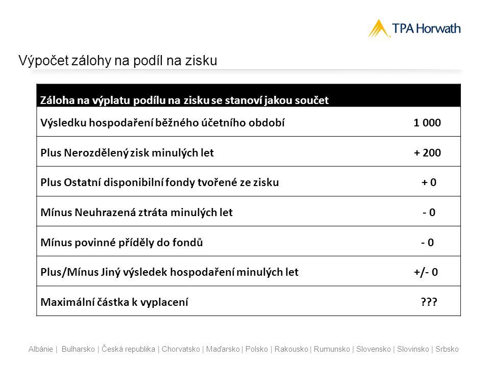 Albánie | Bulharsko | Česká republika | Chorvatsko | Maďarsko | Polsko | Rakousko | Rumunsko | Slovensko | Slovinsko | Srbsko Výpočet zálohy na podíl