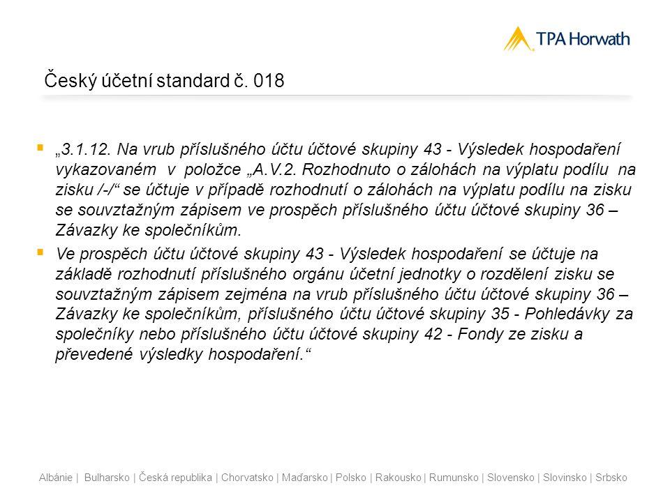 Albánie | Bulharsko | Česká republika | Chorvatsko | Maďarsko | Polsko | Rakousko | Rumunsko | Slovensko | Slovinsko | Srbsko Český účetní standard č.