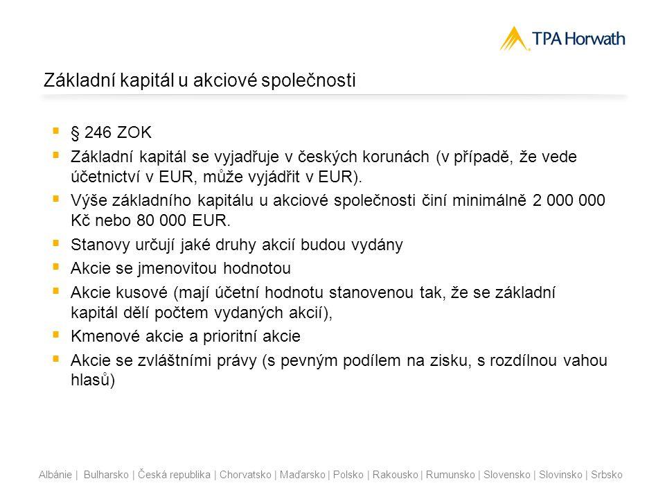 Albánie | Bulharsko | Česká republika | Chorvatsko | Maďarsko | Polsko | Rakousko | Rumunsko | Slovensko | Slovinsko | Srbsko Základní kapitál u akcio
