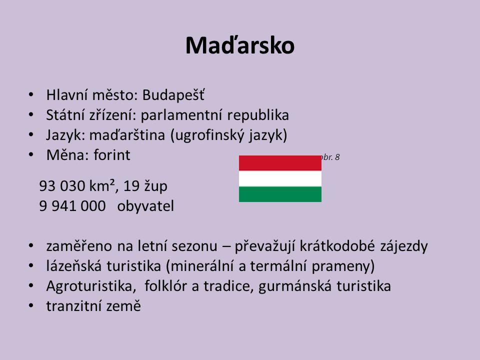 Maďarsko Hlavní město: Budapešť Státní zřízení: parlamentní republika Jazyk: maďarština (ugrofinský jazyk) Měna: forint obr. 8 93 030 km², 19 žup 9 94