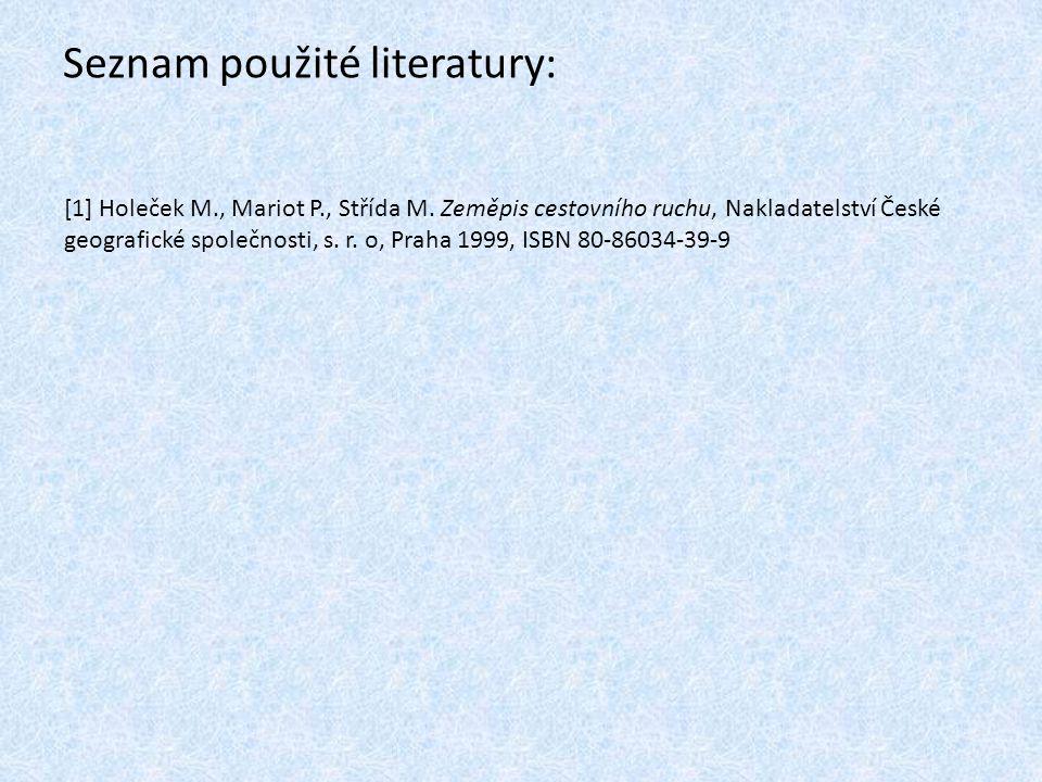 Seznam použité literatury: [1] Holeček M., Mariot P., Střída M. Zeměpis cestovního ruchu, Nakladatelství České geografické společnosti, s. r. o, Praha