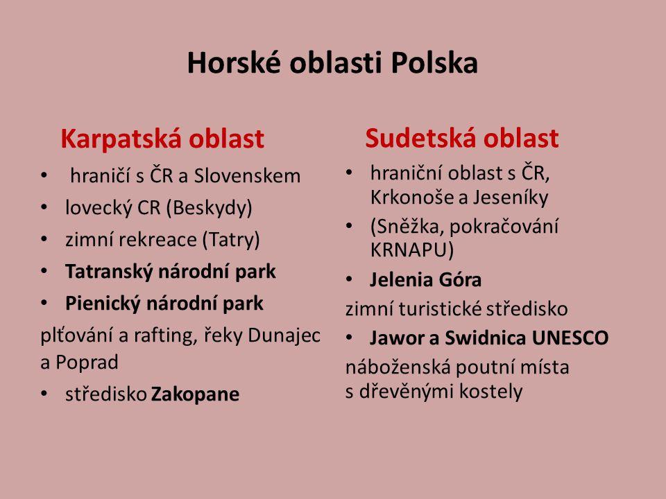 Horské oblasti Polska Karpatská oblast hraničí s ČR a Slovenskem lovecký CR (Beskydy) zimní rekreace (Tatry) Tatranský národní park Pienický národní p